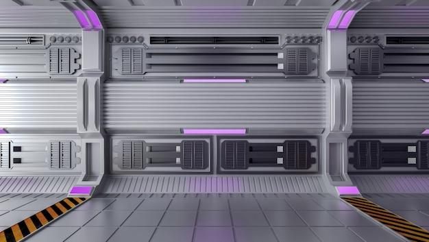 열린 공간, 3d 렌더링이있는 빈 미래의 공상 과학 룸 인테리어