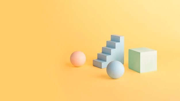 Empty geometrical shape podiums and pedestal in pastel colors.copy space for placing products.good for placing objects.mockup shape podium concept,large banner.