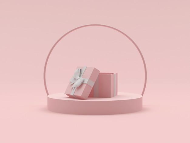 Empty gift box on a round pedestal platform