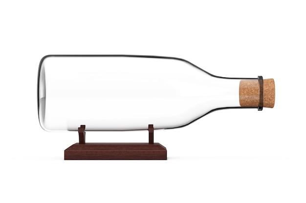 Пустая стеклянная бутылка без корабля для вашего дизайна на белом фоне. 3d рендеринг