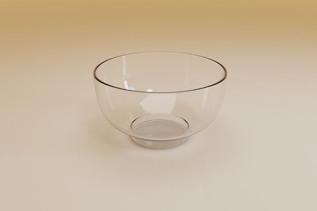 空のガラスのボウル; 3dレンダリング