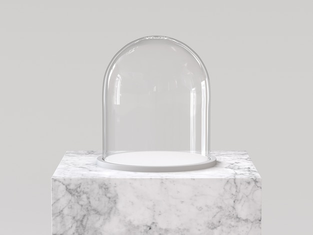 흰색 대리석 연단에 흰색 트레이와 빈 유리 돔. 3d 렌더링.