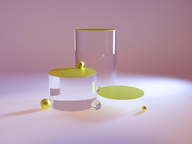 Пустой стеклянный выставочный стенд, платформа в неоновом свете