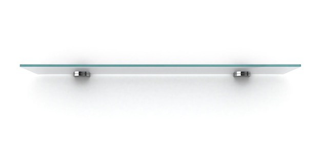 白い壁に分離された空のガラス棚