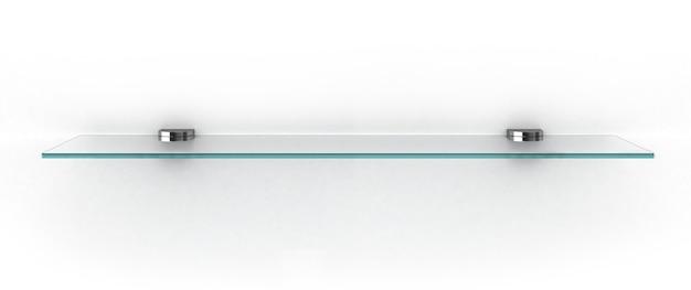 白で隔離される空のガラス棚