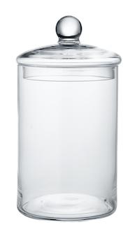 白い表面に隔離された空のガラス貯蔵容器