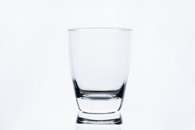 Empty glass of water isolated on white wall