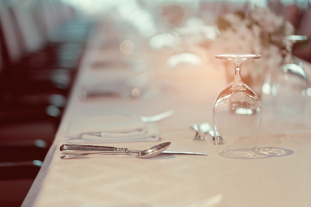 Empty glasses in restaurant, glass water