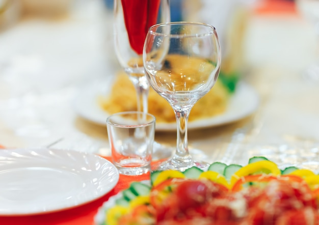 Empty glasses set in restaurant. catering service concept