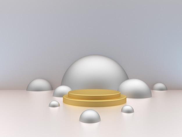 Пустой золотой подиум и сцена с серебряными полусферами