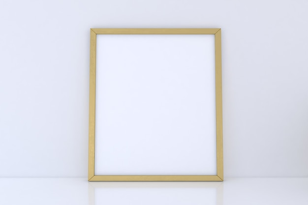 흰색 바탕에 빈 골든 프레임 이랑
