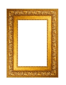 Empty golden vintage frame isolated on white