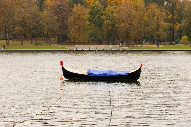Empty gondola with no tourists. tourism and economic crisis concept.