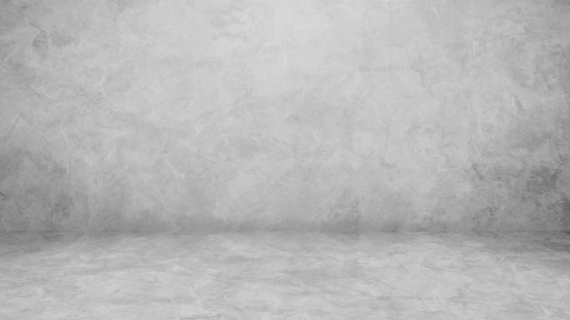 Пустая серая цементная стена, интерьер комнаты, студия, фон и перспектива пола с мягким светом