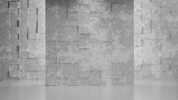 Empty gray concrete room with abstrack wall