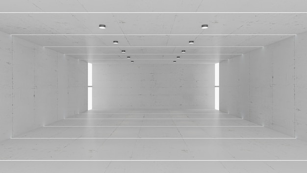 Empty gray concrete room