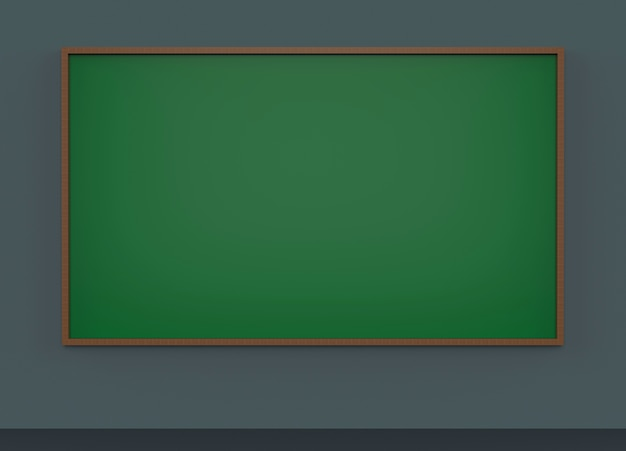 Empty green blackboard on dark gray wall background