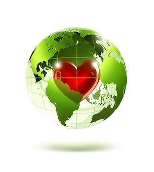 Пустая зеленая планета с красным сердцем внутри