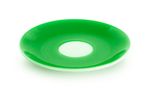Empty green plate isolated on white background