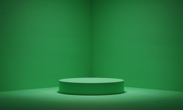 빈 녹색 연단과 코너 배경에서 빛.