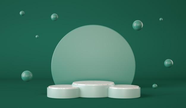Пустой зеленый подиум с кругами на фоне и сферами, плавающая презентация продукта d рендеринга