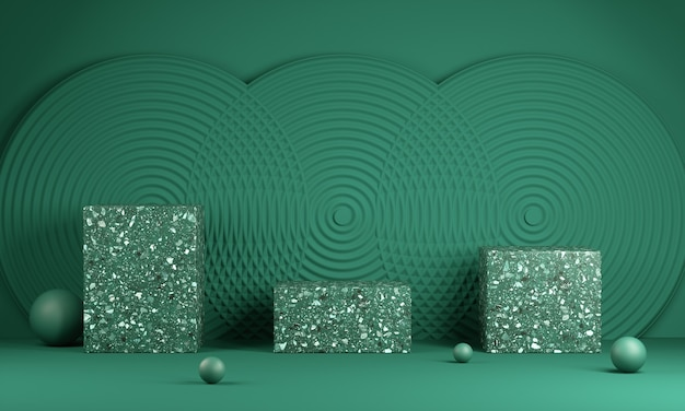 Empty green three modern minimal platform with abstract wall background 3d render