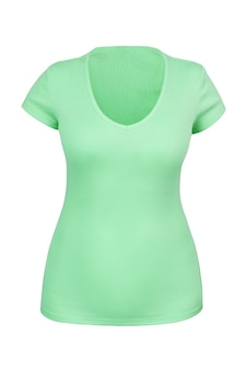 Пустая зеленая футболка с v-образным вырезом для женщин в технике манекена-невидимки или призрака. изолированный. может использоваться как макет