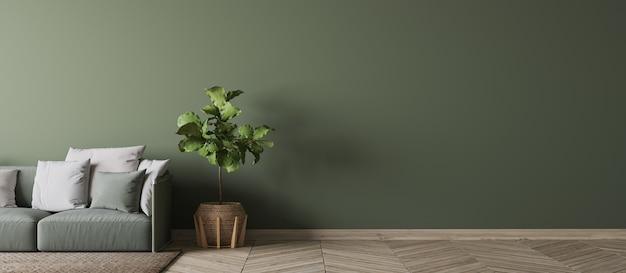 Пустой дизайн интерьера зеленой стены в современной гостиной, зеленом диване, деревянном зеленом растении и белых подушках в скандинавском стиле, 3d-рендеринг