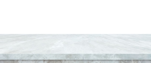 Empty grey cement stone table isolated on white background, banner