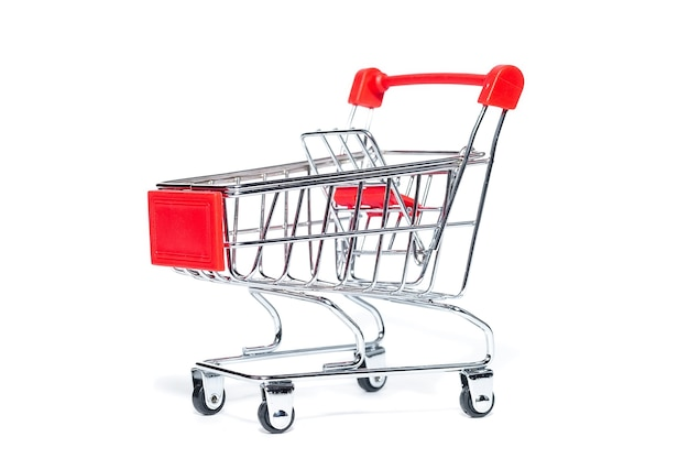 An empty grocery cart from a supermarket