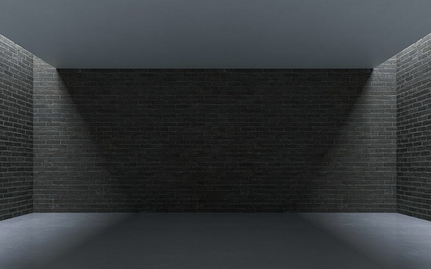 빈 그런 지 콘크리트 벽돌 방 장식 조명. 3d 렌더링