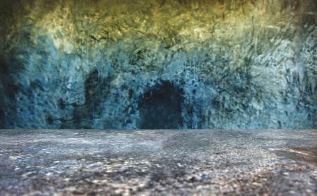 Empty grunge concrete perspective room
