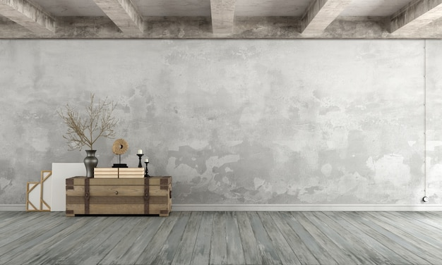 Empty grunge living room with old wall