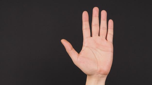 Empty hand palm on black background.