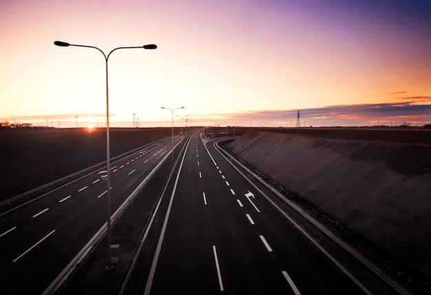 Empty highway at dawn