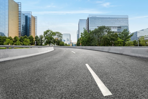 Empty highway with cityscape of chengdu,china