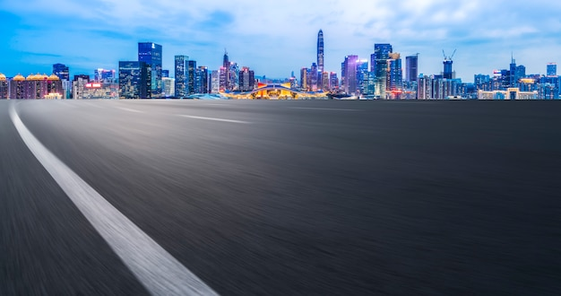 Empty highway with cityscape of china