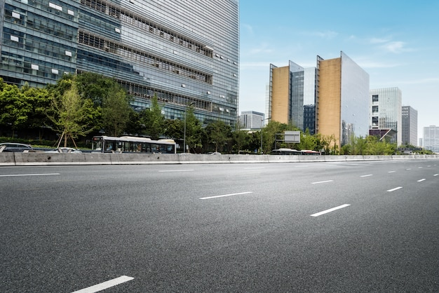 Empty highway with cityscape and skyline of chengdu,china