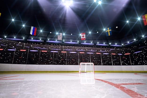 Empty hockey arena in 3d render