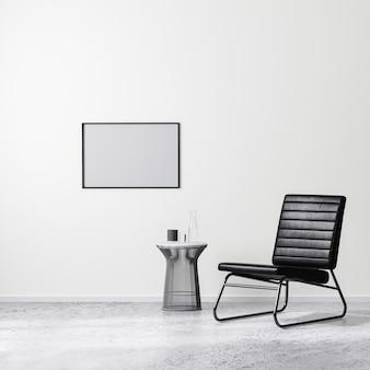 커피 테이블, 흰색 벽, 콘크리트 바닥이 있는 검은색 안락의자가 있는 현대적인 인테리어 디자인 장면의 빈 수평 프레임, 3d 렌더링