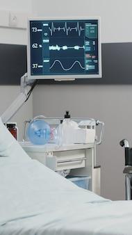 心拍数モニターとベッドを備えた空の病棟