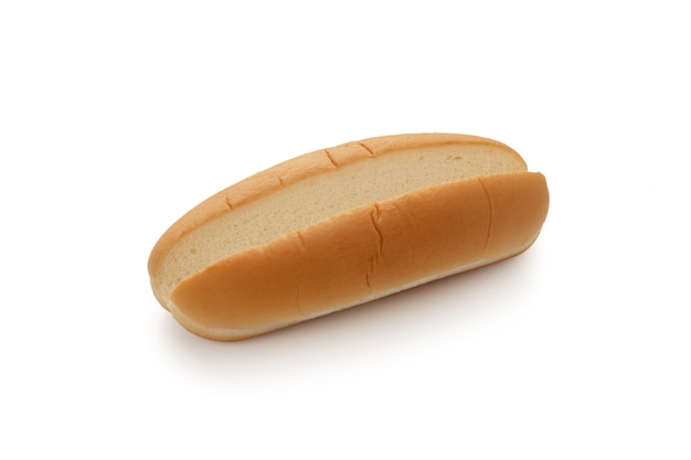 Empty hot dog bread on isolated white background