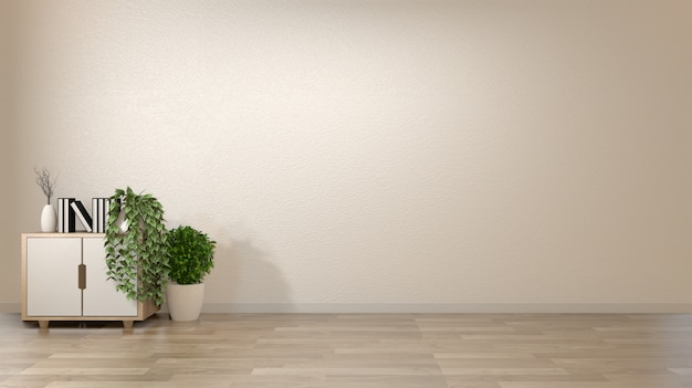 Empty interior background room zen style with decoration on cabinet woonden on floor wood japan style.