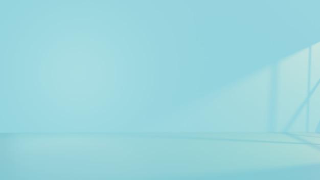 파란색 벽과 빈 인테리어