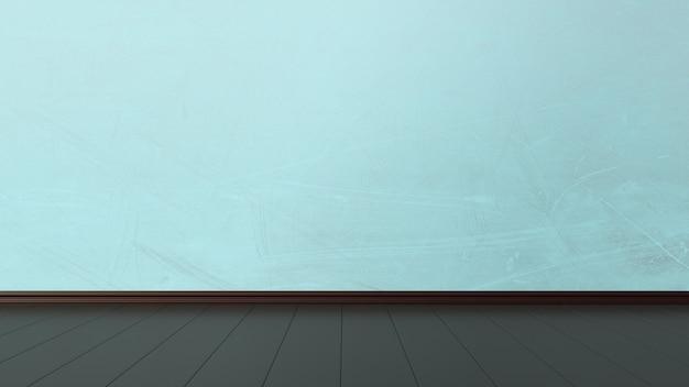 Пустой интерьер с гранж синей стеной и темным полом