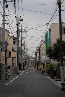 Empty japan street with bicycle