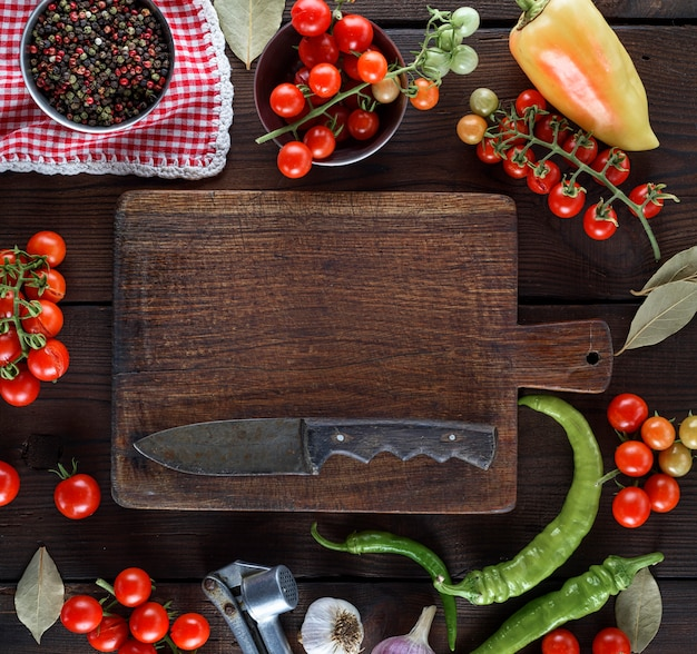 Empty kitchen cutting and fresh red cherry tomatoes