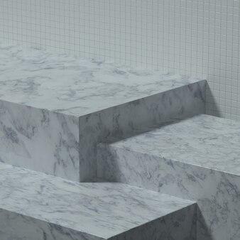 제품 배너 또는 프로모션을 위한 세라믹 벽이 있는 빈 주방 테이블 또는 무대. 3d 일러스트레이션