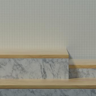 제품 배너 또는 프로모션을 위한 나무 장식과 세라믹 벽이 있는 빈 주방 테이블 또는 무대. 3d 일러스트레이션