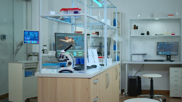 Пустая современная лаборатория, в которой никого нет, подготовленная для фармацевтических инноваций с использованием высоких технологий и инструментов микробиологии для научных исследований. разработка вакцины против вируса covid19.
